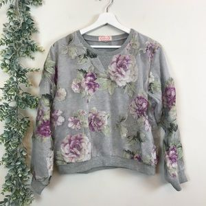 Blush Boutique Floral Overlay Sweatshirt Large